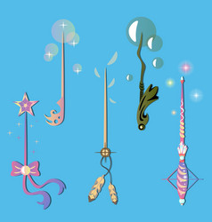 decorative set with magic wands vector image
