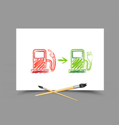 drawing evolution future gas station vector image