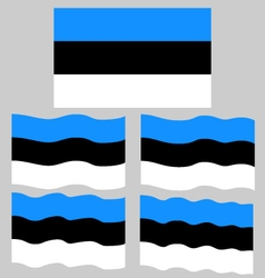 Flat and waving flag of estonia vector