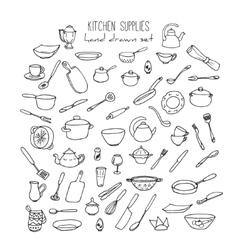 Hand Drawn Kitchen Tools Set Kitchenware vector image