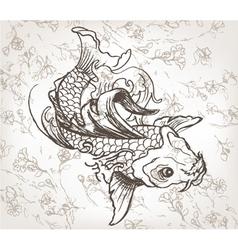Hand drawn koi fish vector