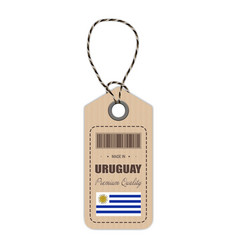 hang tag made in uruguay with flag icon isolated vector image