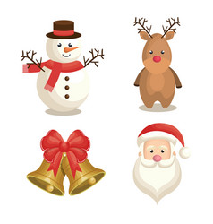 Happy merry christmas set icons vector