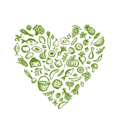Healthy food background heart shape sketch for vector image vector image
