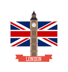 London concept big ben flat design with england vector