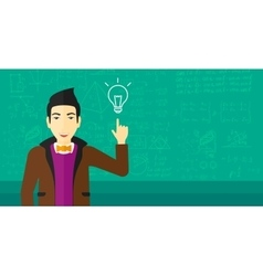 Man pointing at light bulb vector