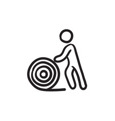 Man with wire spool sketch icon vector