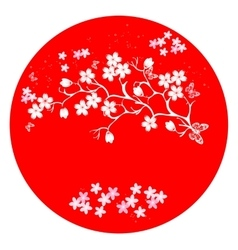 Modern japanese cherry blossom template vector