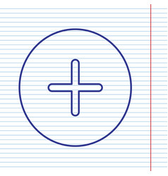 Positive symbol plus sign navy line icon vector