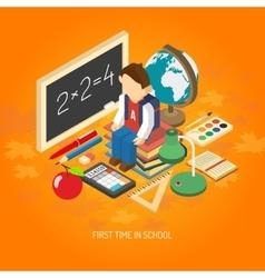 School isometric concept poster vector