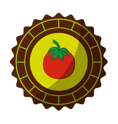Seal stamp with tomato icon vector