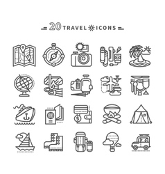 Set of Black Travel Icons on White Background vector image vector image
