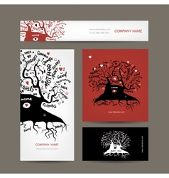 Set of business cards design with old family tree vector