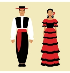 Spanish man and a woman in national costume vector image