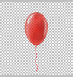 Transparent red helium balloon vector