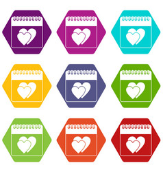wedding date day on calendar icon set color vector image