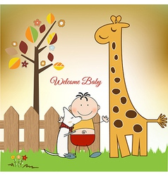 welcome baby greeting card with giraffe vector image