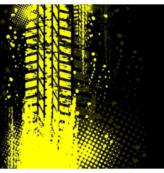 Yellow background tire track vector