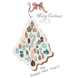 Vintage christmas card pastel colors vector