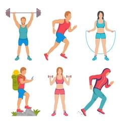 Set sport people vector
