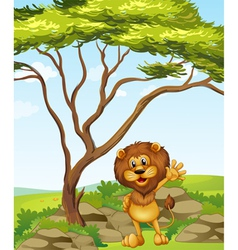 A lion standing beside a big tree vector