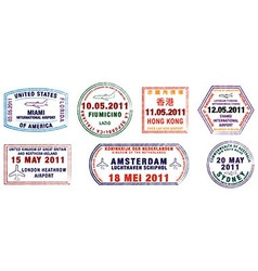 Major city passport stamps vector