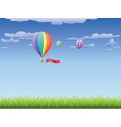 Hot air balloons over grass field vector