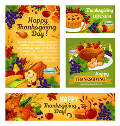 Thanksgiving day posters and banners vector