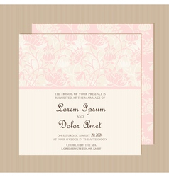 Wedding invitation card pink vector