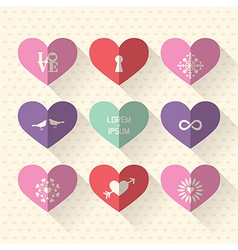 Heart symbol flat design icon set vector