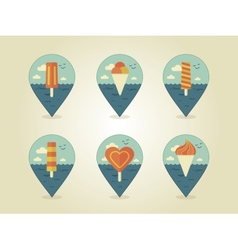 Pin map icons ice cream vector