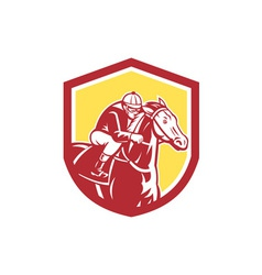 Jockey horse racing shield retro vector