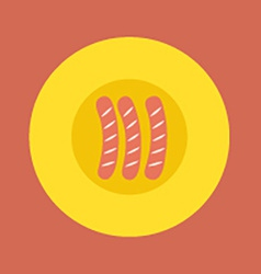 Top view of sausages on plate vector