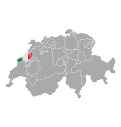 Map of switzerland with flag of neuchatel vector