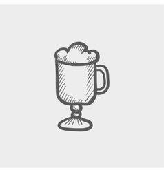 Mug of beer sketch icon vector