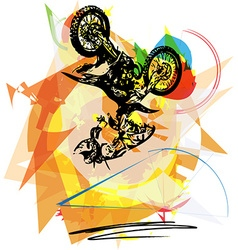 Extreme motocross racer by motorcycle vector