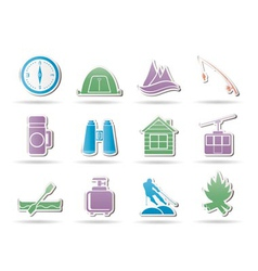 Travel and mountain objects vector