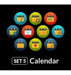 Flat icons set 5 - calendar collection vector