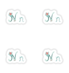 Stiker abstract letter n logo icon in blue vector