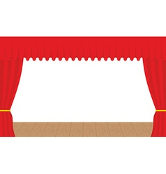 Empty stage outdoor red curtain curtains before vector