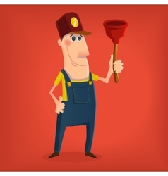 Hand drawn plumber character vector