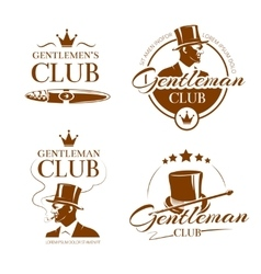 Vintage gentleman club emblems labels vector