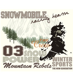 snow mobile 2 vector image