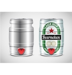 Realistic metal beer keg vector