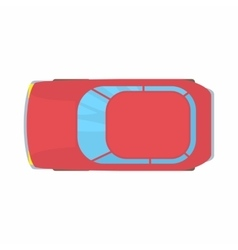 Red car top view icon cartoon style vector