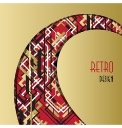 Background with golden red black art deco outline vector