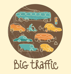 big traffic doodle emblem vector image vector image