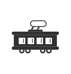 Black icon on white background tram silhouette vector
