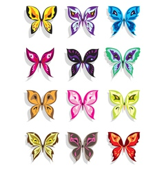 Butterfly with shadow in twelve variations vector image vector image