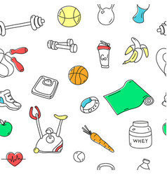 Colorful seamless pattern with fitness doodles vector